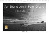 Am Strand von St. Peter-Ording SCHWARZ-WEISS (Wandkalender 2021 DIN A4 quer)