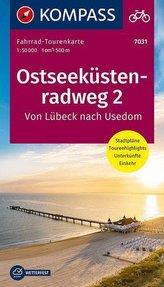Fahrrad-Tourenkarte Ostseeküstenradweg 2, von Lübeck nach Usedom