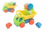 Auto na písek s doplňky plast 16cm 2 barvy v síťce