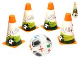 Fotbalové kužely 18cm 4ks s míčem 12cm 10m+ v síťce