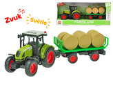 Traktor s vlečkou 38cm 1:16 na setrvačník na baterie se světlem a zvukem v krabičce