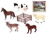 Zvířátka farma 10-12cm 5ks s plotem v krabičce