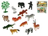 Zvířátka safari 4-8cm + stromek 13ks v sáčku