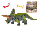 Dinosaurus Triceratops 23cm na baterie se světlem a zvukem v krabičce