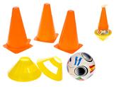 Fotbalové kužely 18cm 4ks + mety 4ks s míčem 11cm 10m+ v síťce