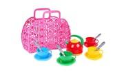 Sada nádobí plast 3 barvy v plastové tašce/kabelce 25x22x11 cm