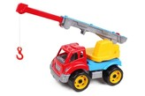 Auto stavební jeřáb plast 3 barvy v síťce 19x21x36 cm