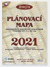 Plánovací roční mapa Retro skládaná - nástěnný kalendář 2021