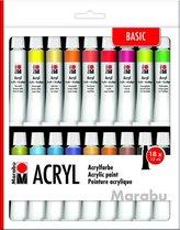 Marabu akrylová barva sada 18 x 12 ml