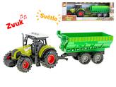 Traktor s vlečkou 32cm na setrvačník a baterie se světlem a zvukem 3zvuky v krabičce