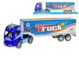 Kamion 35cm modrý na setrvačník v krabičce