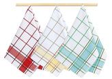 Kuchyňské utěrky - kostka tyrkys, žlutá, červená - 50x70 cm