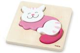 Dřevěné puzzle pro nejmenší - kočka
