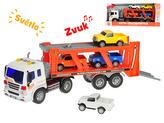Tahač s přívěsem 38cm 1:16 na setrvačník + 4ks auta na baterie se světlem a zvukem v krabičce