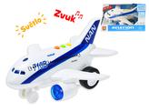 Letadlo dopravní 20cm na setrvačník na baterie se světlem a zvukem v krabičce