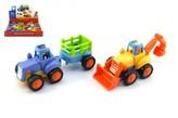 Traktor s vlekem/Buldozer plast 16cm pro nejmenší na setrvačník 18m+