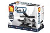 Kostky stavebnice Dromader Swat policie vrtulník 32 dílků v krabičce 10x7x4,5cm