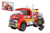 Kostky stavebnice Dromader auto hasiči 96 dílků v krabičce 22x15x5cm