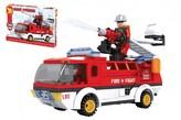 Kostky stavebnice Dromader auto hasiči 192 dílků v krabici 35x25x5,5cm