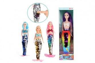 Panenka mořská panna kloubová plast 30cm s měnícími se  šaty 4 druhy v krabičce 9x33x5cm