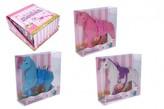Jednorožec kůň fliška se sedlem 16cm 3 barvy v krabičce 16x17x5,5cm 12ks v boxu