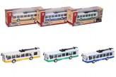 Trolejbus kov/plast 16cm na zpětný chod na baterie se světlem se zvukem 3 barvy v krabičce 22x9x6cm