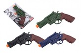 Pistole 17cm plast na baterie se světlem se zvukem 3 barvy na kartě