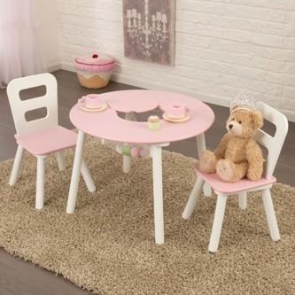 Kidkraft Set stůl a 2 židle růžovobílý