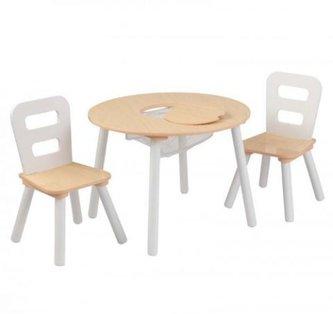 KidKraft Set stůl s 2 židle přírodní a bílá