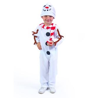 Dětský kostým sněhulák s čepicí a červenou šálou (S)