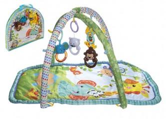 Hrací podložka/Hrazda pro děti s chrastítky látka/plast v plastové tašce 50x45x7cm 0m+