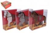 Kůň se sedlem  fliška 16cm,v krabičce 16x16x5,5cm 1 ks / 3 barvy