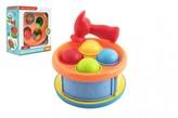 Zatloukačka/Bubínek 17cm 2v1 plast s kladívkem s míčky 4ks 2 barvy v krabici 18x20x10cm 12m+