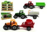 Traktor s přívěsem plast/kov 19cm na volný chod v krabičce 25x13x5,5cm, 3 druhy