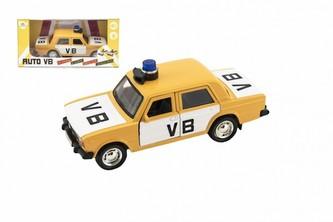 Policejní auto VB kov/plast 11,5cm na zpětné natažení na baterie se zvukem v krabičce 15x7x7cm