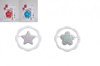 Chrastítko hvězdička/kytička plast 13cm mix barev v krabičce 12,5x16cm 0m+