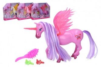 Jednorožec/kůň s křídly česací s doplňky plast 20 cm 2 barvy v krabičce 25x20x5cm
