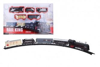 Vlak + 4 vagony s kolejemi plast 103,5x67,5cm na baterie se světlem se zvukem v krabici 47x29x4cm