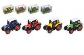 Traktor kov/plast 7cm na zpětné natažení 1 ks  různé barvy / krabička 8x5x4cm