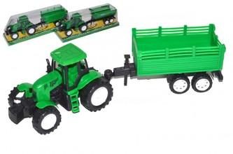 Traktor s vlekem plast 27cm na setrvačník v blistru 30x10x8cm