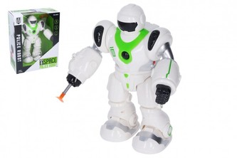 Robot chodící plast 21cm na baterie se zvukem se světlem v krabici 20x25x11cm