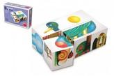 Kostky kubus dřevo 6ks v krabičce 12,5x8,5x4cm