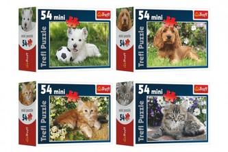 Minipuzzle Zvířátka 54 dílků 4 druhy v krabičce 9x6,5x3,5cm 40ks v boxu