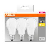 OSRAM LED BASE CL A Fros. 8,5W 827 E27 806lm 2700K (CRI 80) 10000h A+ (Krabička 3ks)