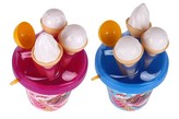 Sada na písek plast kbelík + formičky zmrzlina 1ks, 2 různé barvy