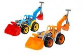 Traktor/nakladač/bagr se 2 lžícemi plast na volný chod 1ks