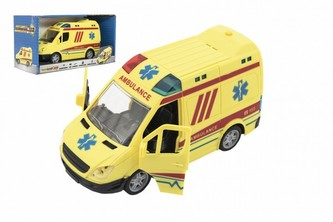 Auto ambulance plast 20cm na setrvačník na baterie se zvukem se světlem v krabici 26x15x12cm