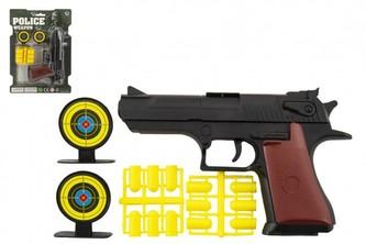 Pistole špuntovka 17cm plast + náboje 12ks + terč 2ks na kartě
