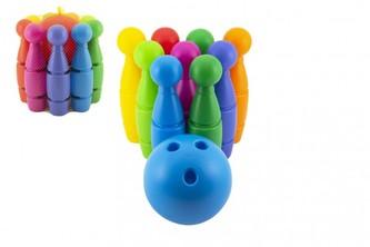 Kuželky MAXI plast 29cm 9ks 3 barvy míče v síťce