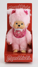 Monchhichi 20cm - růžová holka s kvítky (Mončiči)
